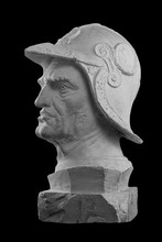 White Plaster Bust, Sculptural Portrait Of Warrior In Armor And Helmet Bartolomeo Colleoni