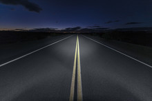Quiet Mojave Desert Portion Of Route 66 At Night In Southern California.