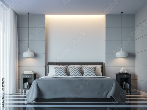 Modern white bedroom minimal style 3D rendering Image.There white ...