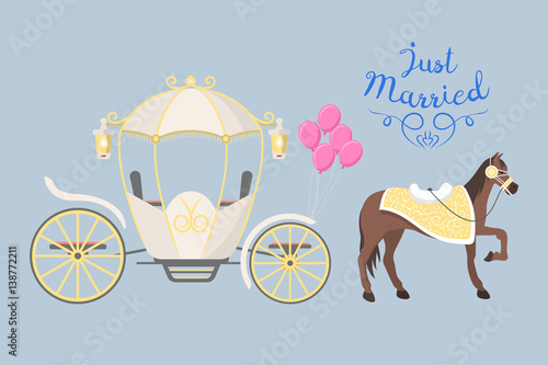 Fairy tale vintage carriage decoration with cute fashion horse royal element and princess retro wedding coach with classic elegant accessory vector illustration Wallpaper Mural