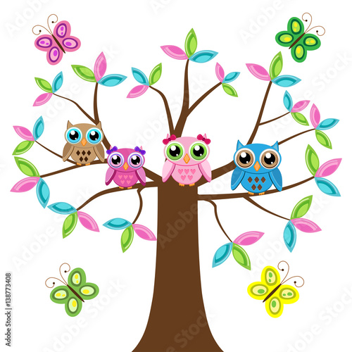 Four colorful owls on the tree with butterflies