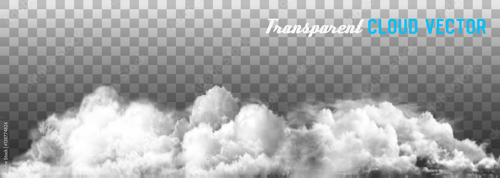 Fototapeta Clouds vector on transparent background.