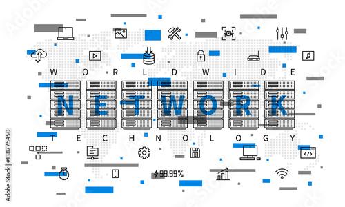 Worldwide network technology vector illustration  Server
