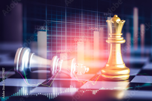 Fotografie, Obraz  Business game on digital stock market financial and chess background