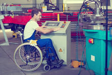 Disabled Worker In Wheelchair ...