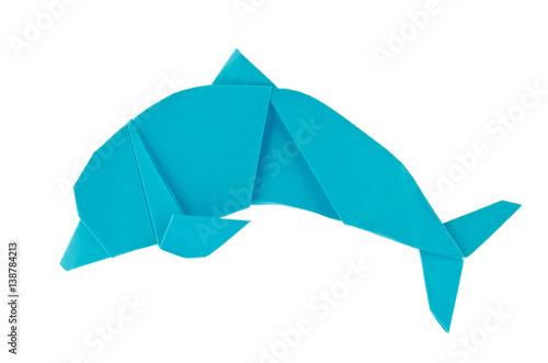 Blue sea dolphin of origami