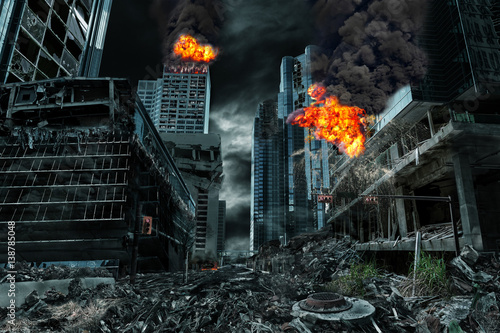 Cinematic Portrayal of Destroyed City Canvas Print