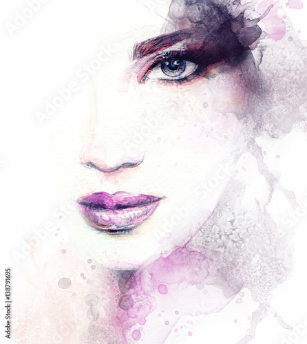 Garden Poster Watercolor Face Woman face. Fashion illustration. Watercolor painting