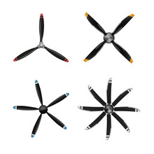 Set Of Aircraft Screw In Flat Style. Airplane Propellers On White Background