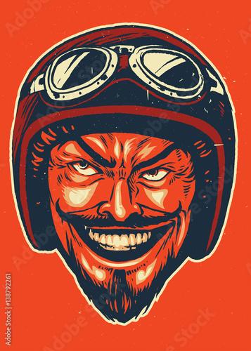 Foto  Hand drawing of devil wearing motorcycle helmet