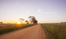Beautiful Sunset On Dirt Road Australian Landscape