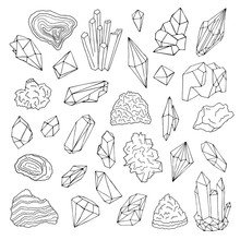 Minerals, Crystals, Gems Isolated Black And White Vector Illustration Hand Drawn Set.