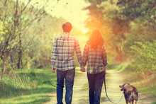 Happy Couple In Love With Dog ...