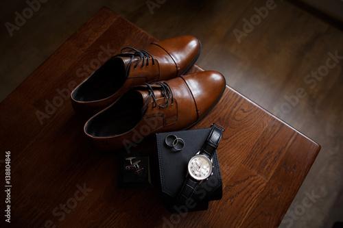 Fotografie, Obraz  Wedding accessories for groom: brown shoes, cufflinks, hand watch and wedding ri