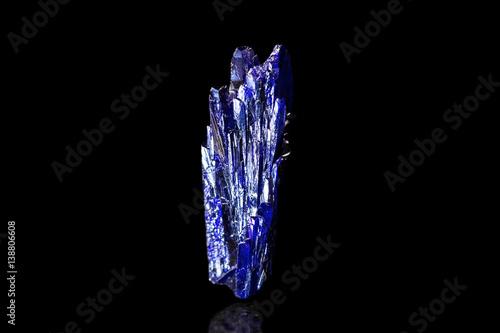 kleiner blauer Azurit, schwarzer Hintergrund, Kristall, Mineral, Heilstein Canvas Print