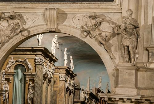 Plakat Częściowy widok na scenę teatru olimpijskiego w Vicenzy, dzieło słynnego renesansowego architekta Palladium