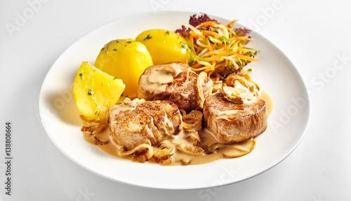 Fotografie, Obraz  Pork fillet pieces with potatoes