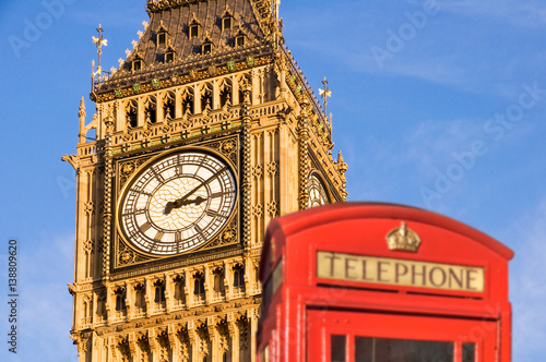 Foto op Canvas Londen Red telephone box and Big Ben, London, UK