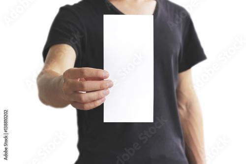 man showing blank white flyer brochure booklet leaflet presentation