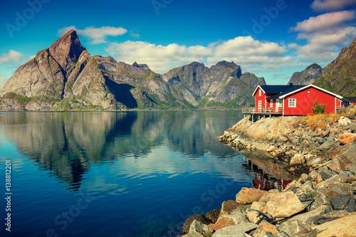 Obraz na plátně Beautiful fishing village on fjord