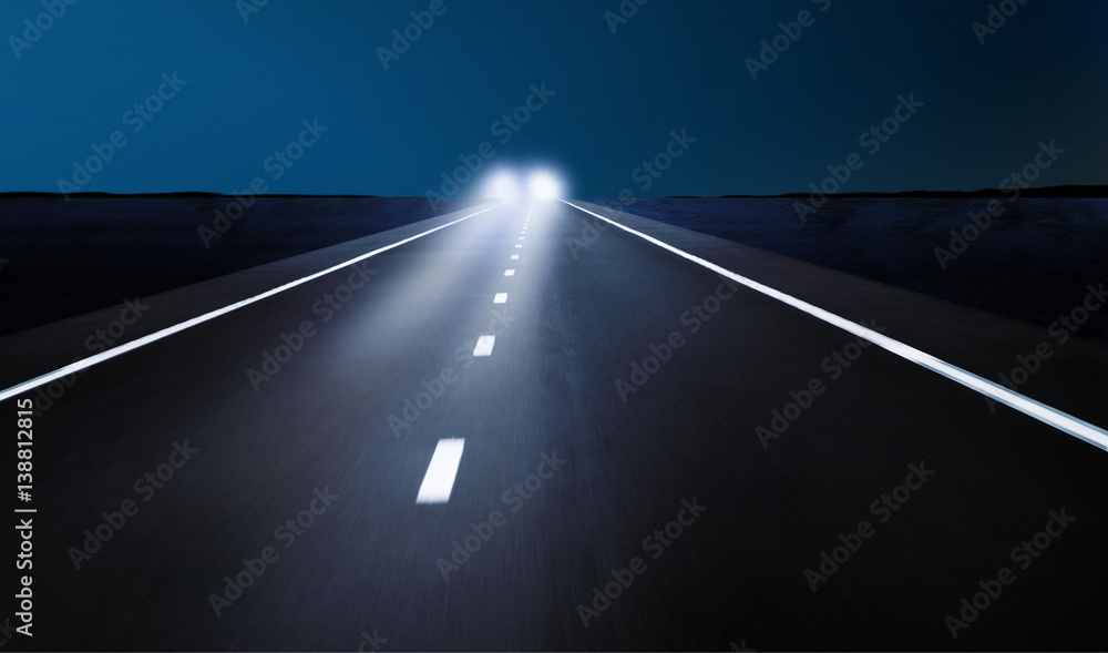 Fototapeta Gegenverkehr bei Nacht