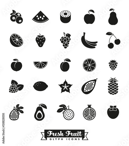Fruit Glyph Icon Vector Set. Collection of 25 fruit symbols. Wall mural