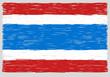 Hand drawn Thai flag