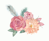 Watercolor floral composition with roses, leaves, feathers for greeting cards, wedding, invitations, birthday - 138829447