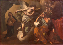 JERUSALEM, ISRAEL - MARCH 5 , 2015: The Apparition Of Angel To St. Joseph In The Dream Paint In St. Ann Church By Unknown Artist.