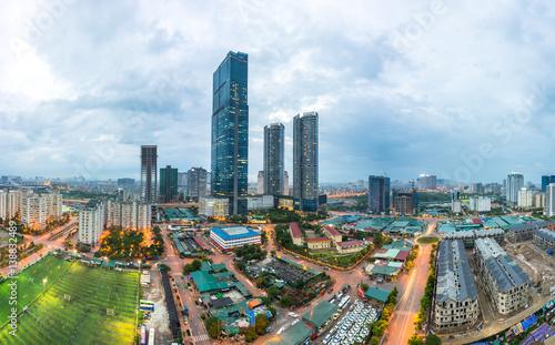 Foto op Plexiglas Indonesië Hanoi city skyline view by twilight period, Pham Hung street, Cau Giay district