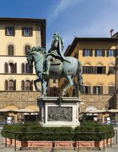 Bronze Statue Of Grand Duke Cosima I Of Tuscany_ Piazza Della Signoria, Florence, Italy