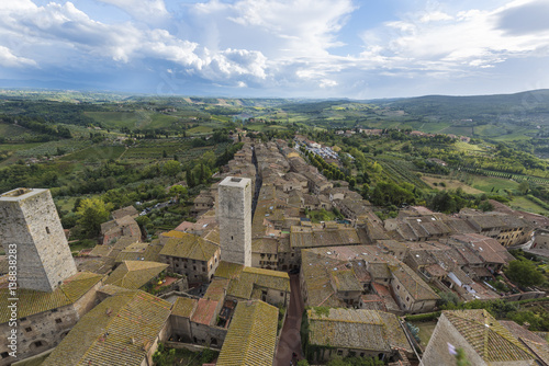 Fotografija  Panorama with landscape of San Gimignano, seen from the highest tower Torre Gros