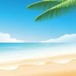 blue sea beatiful with coconut tree