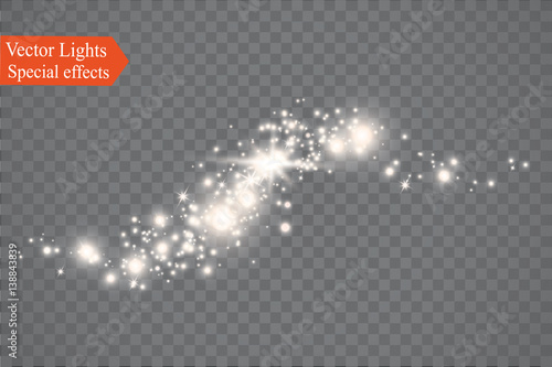 Photo  Glow light effect. Vector illustration. Christmas flash. dust