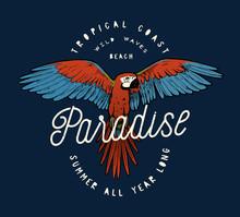 Red Ara Parrot Vintage Paradise Tropical Print