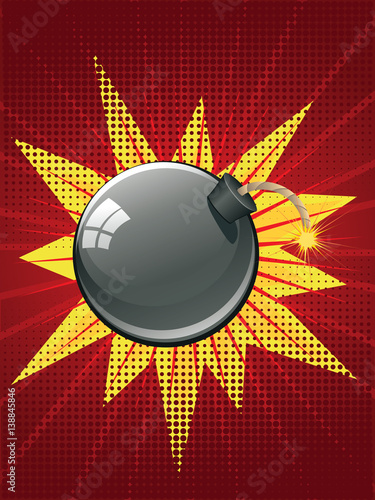 Fotografie, Obraz  Cartoon Black Bomb