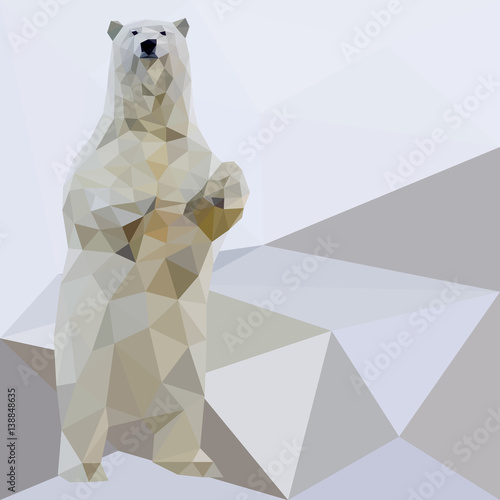 Fototapeta Vector polar bear stylized triangle polygonal model