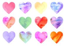 Colorful Watercolor Hearts