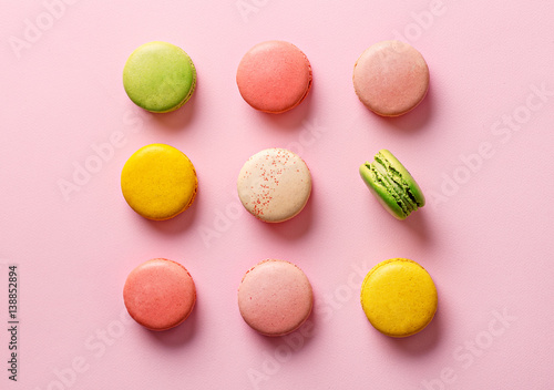 Flay lay selection of colorful macarons. Top view