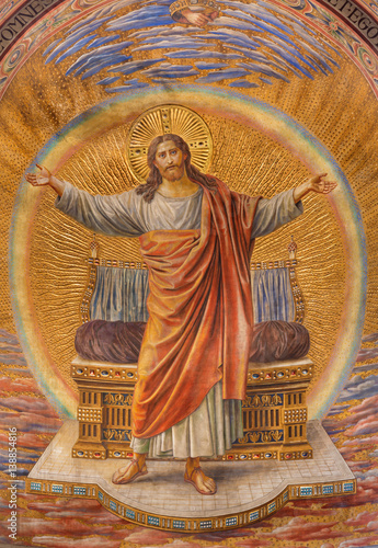 BERLIN, GERMANY, FEBRUARY - 14, 2017: The Fresco of Jesus Christ in main apse of Herz Jesus church by Friedrich Stummel and Karl Wenzel from end of 19 Poster