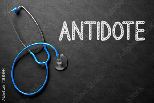 Photo Chalkboard with Antidote Concept. 3D Illustration.