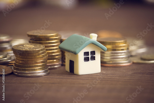 Fototapeta Mortgage concept. Money and house obraz