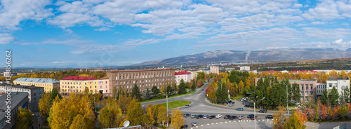 Autumn panorama of the town of Apatity. Wallpaper Mural