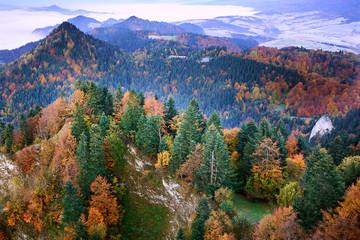 Panel Szklany Podświetlane Do biura Górski krajobraz z Trzech Koron w Pieninach.