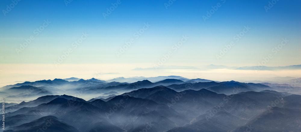 Fototapeta aerial of mountain ridge od Los Angeles valley