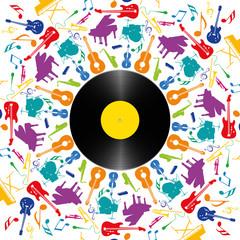 FototapetaMusique - Instruments de musique - disque vinyle - fête de la musique - fond