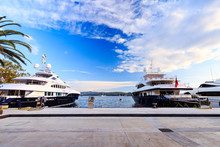 Luxury Vacation Resort And Marina For Luxury Yachts Called Porto Montenegro In Bay Of Kotor, Tivat, Montenegro.