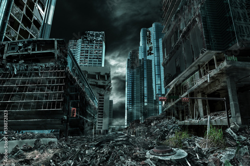 Cuadros en Lienzo Cinematic Portrayal of Destroyed and Deserted City