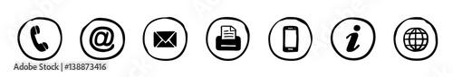 Obraz Handgezeichnete, runde Kontakt-Icons / schwarz-weiß, Vektor, freigestellt - fototapety do salonu