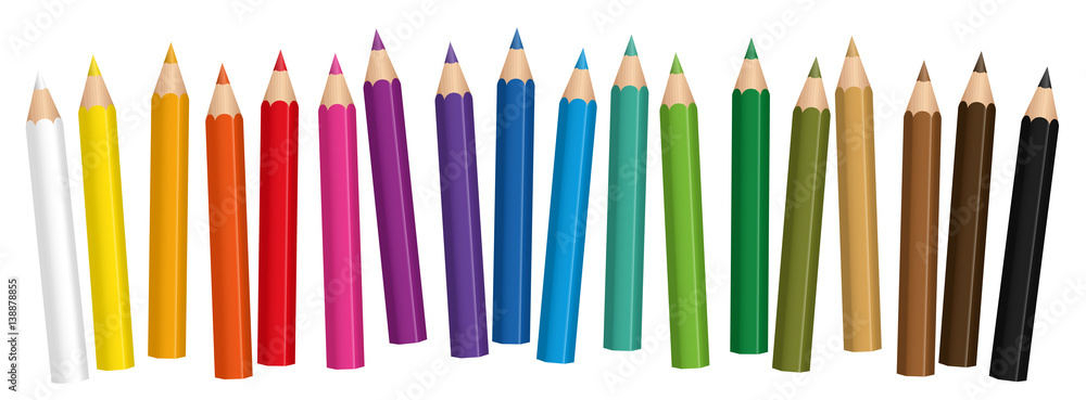 Fototapety, obrazy: Crayons - small colored pencil collection loosely arranged - isolated vector on white background.